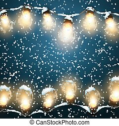 Luminous Electric Garland - Glowing Lights With Snow Vector...