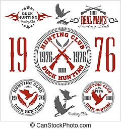Duck Hunting - vector set for hunting emblem and logo