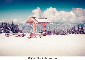 Descansar, plase, en, el, cima, de, nevoso, montañas,...