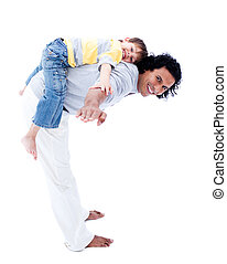 Smiling father and his son playing together isolated on a...