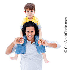 Caring father giving piggyback ride to his little boy -...