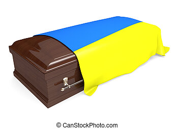 Coffin covered with Ukraine flag