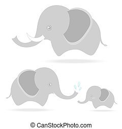 cute elephant family, cartoon drawing thailand