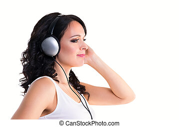 Smiling woman with headphones in profile isolated