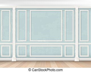 Blue wall with pilasters - Blue wall interior in classical...