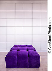 Modern violet couch in empty contemporary interior
