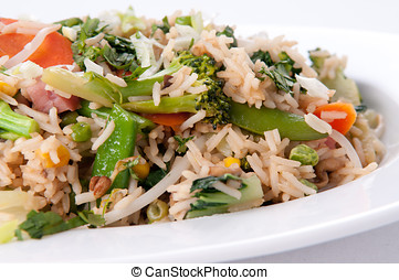 ham stir fry with fresh vegetables and rice
