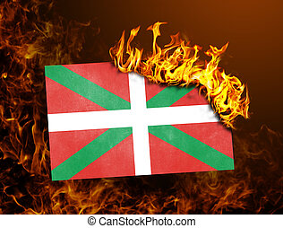 Flag burning - Basque Country - Flag burning - concept of...