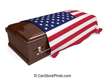 Coffin covered with American flag