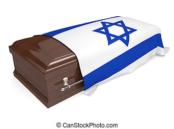 Coffin covered with Israel flag