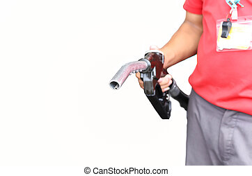 Man holding petrol pump isolated