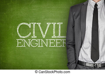 Civil engineer on blackboard with businessman in a suit on...