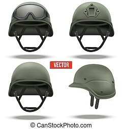 Set of Military tactical helmets green color - Set of...