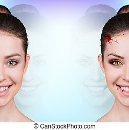 Woman with vampire fangs - Beautiful woman with vampire...