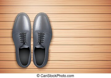 Classic Men Shoes on wooden background