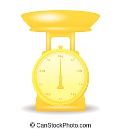 golden color weight scale market isolate on white background