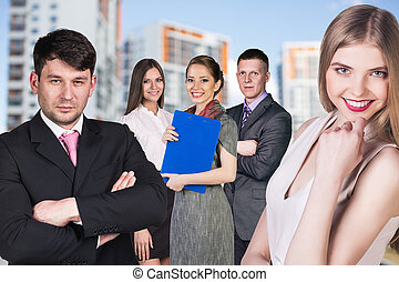 Business people on the street - Business people stand on the...