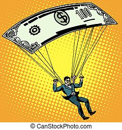Golden parachute business concept cash compensation pop art...