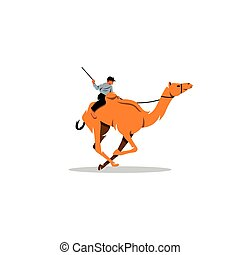 Traditional Camel Race in Middle East Vector Illustration -...