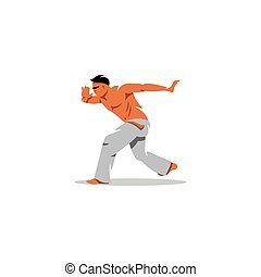 Capoeira fighter. Vector Illustration. - Fighter in white...
