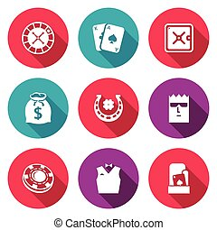 Casino Icons Set Vector Illustration - Isolated Flat Icons...