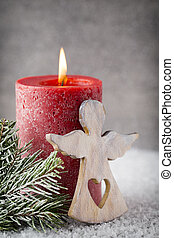 Christmas candles and lights. Christmas background. - Red...