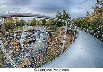 downtown of greenville south carolina around falls park