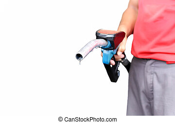 Man holding petrol pump nozzle with drop of fossil fuel isolated