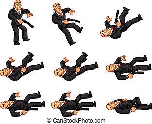 Body Guard Animation Sprite - Vector Illustration of Bald...