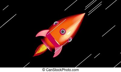 Cartoon Space Rocket Moving in The - Cartoon Space Rocket...