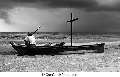 Old man on wreck boat with wooden cross look at the ocean in...