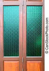 wooden door with Thai culture Glass in classic style