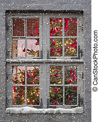 window, snow and christmas tree - decorated christmas tree...