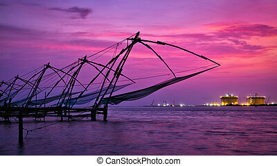 Chinese fishnets on sunset. Kochi, Kerala, India - Panorama...