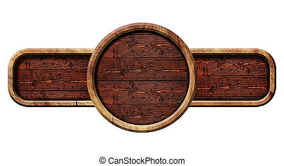 Circle wooden sign, illustration