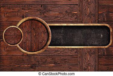 Circle wooden sign on wooden backround, illustration