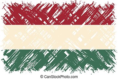 Hungarian grunge flag. Vector illustration. Grunge effect...