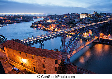 Porto Cityscape in Portugal at Twilight - Dom Luis I Bridge...
