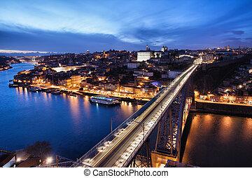 City of Porto at Night in Portugal