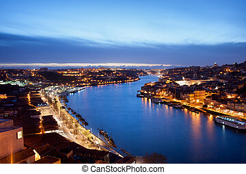 Porto and Gaia at Dusk in Portugal - Dusk at the Douro river...