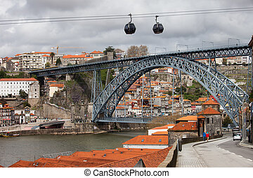 Dom Luis I Bridge in Porto and Cable Car in Gaia - City of...