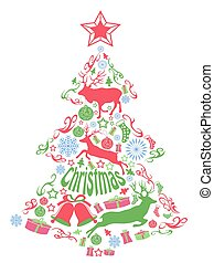 Merry christmas tree with Xmas elements