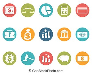 business and Finance round button icons set