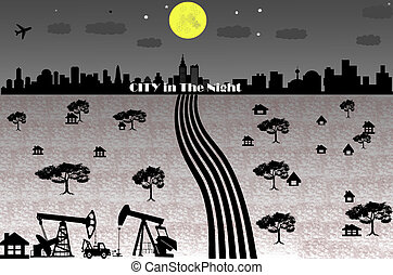 Cityscape of countryside in night