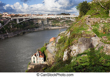 Infante D Henrique Bridge in Porto, Portugal Steep bank of...
