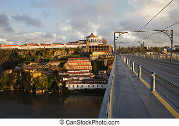 Ponte Luis I and Serra do Pilar at Sunset in Portugal -...