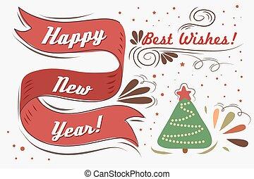 Vintage greeting card - Happy New Year. Vintage greeting...