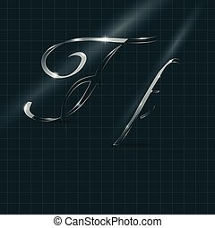 Glass Letters F writing in Italics