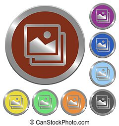 Color images buttons - Set of glossy coin-like color images...