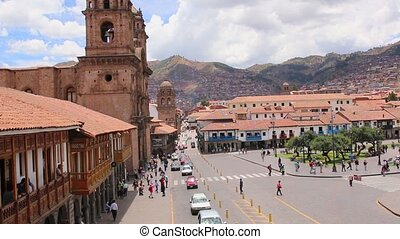 Cuzco, Peru Plaza de Armas Church and Cathedral On a sunny...
